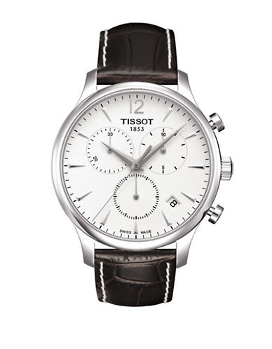 Tissot Tradition Analog Chronograph Stainless Steel Leather Strap Gent Watch-BLACK-One Size