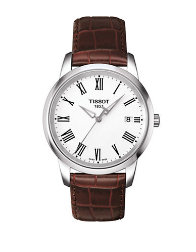 Tissot Analog Classic Dream Stainless Steel Leather Strap Watch-BROWN-One Size