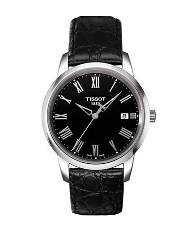 Tissot Classic Dream Quartz Stainless Steel Leather Strap Watch-BLACK-One Size