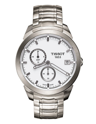 Tissot Mens Titanium  Quartz GMT T0694394403100-SILVER-One Size