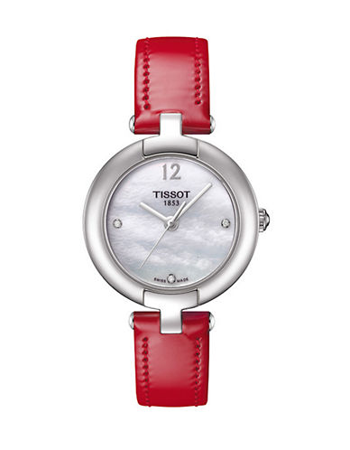 Tissot Stainless Steel Diamond Accented Leather Strap Watch-RED-One Size