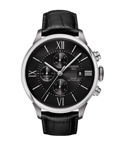 Tissot Chronograph Chemin des Tourelles Watch with Leather Strap-BLACK-One Size
