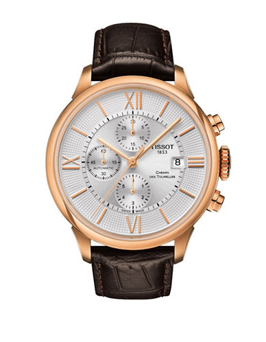 Tissot Chronograph Rose Goldtone Chemin des Tourelles Watch with Leather Strap-BROWN-One Size