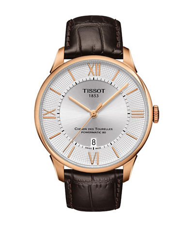 Tissot Chemin des Tourelles Watch with Leather Strap-BROWN-One Size