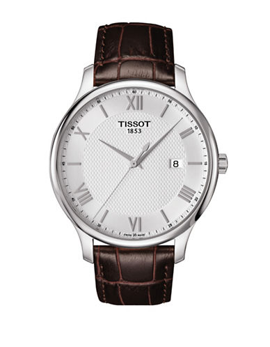 Tissot Tradition Brown Leather Strap Watch-BLACK-One Size