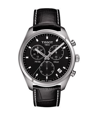 Tissot PR 100 Black Dial Stainless Steel Watch-BLACK-One Size