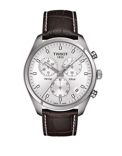 Tissot Chronograph PR 100 Watch with Leather Strap-BROWN-One Size