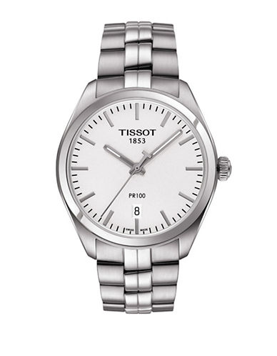 Tissot Silvertone Stainless Steel PR 100 Watch-SILVER-One Size