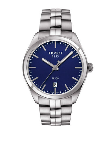 Tissot Analog PR 100 Blue Dial Stainless Steel Watch-SILVER-One Size