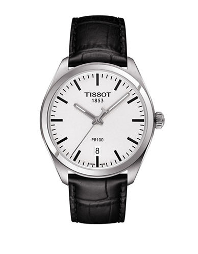 Tissot Analog PR 100 Watch with Leather Strap-BLACK-One Size