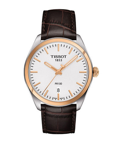 Tissot Rose Goldtone and Stainless Steel PR 100 Watch-BROWN-One Size