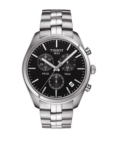 Tissot Chronograph Black Dial Stainless Steel Mesh Bracelet Watch-SILVER-One Size