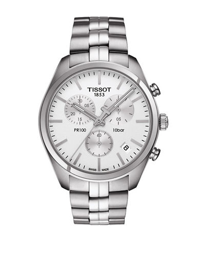 Tissot Stainless Steel Chronograph PR 100 Watch-SILVER-One Size