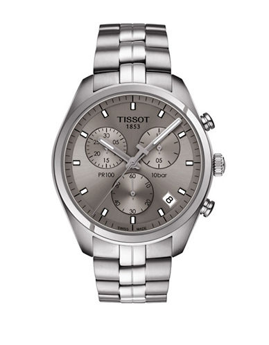 Tissot Stainless Steel Chronograph PR 100 Rhodium Dial Watch-SILVER-One Size