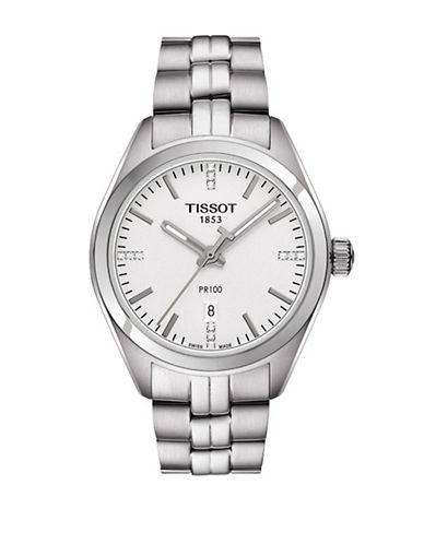 Tissot Analog PR 100 Stainless Steel and Diamond Watch-SILVER-One Size