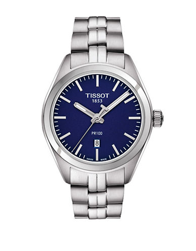 Tissot Analog Blue Dial PR 100 Stainless Steel Watch-SILVER-One Size