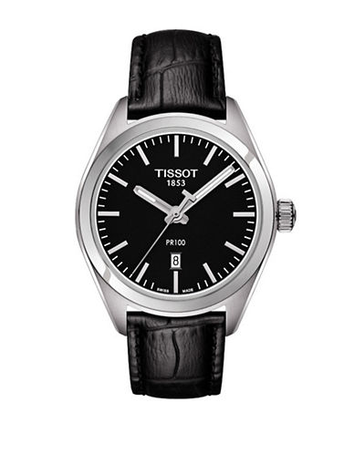 Tissot Stainless Steel PR 100 Watch with Leather Strap-BLACK-One Size