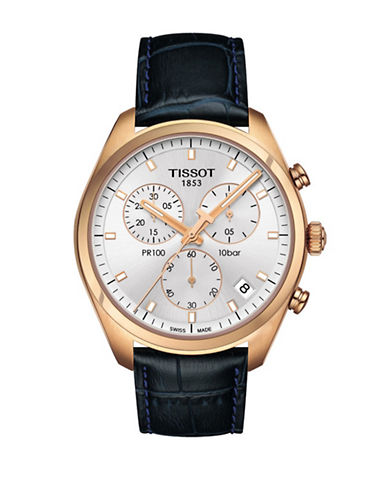 Tissot Rose Goldtone Chronograph PR 100 Watch with Leather Strap-BLACK-One Size
