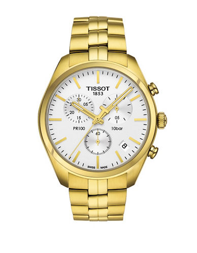 Tissot PR 100 Goldtone Stainless Steel Chronograph Watch-GOLD-One Size