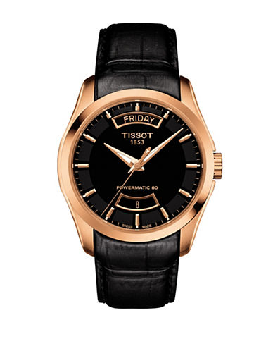 Tissot Analog Couturier GTS Rose-Goldtone Leather Strap Watch-PINK-One Size