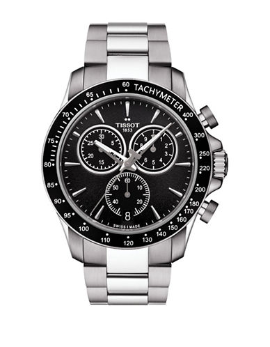 Tissot Chronograph V8 Stainless Steel Watch-BLACK-One Size