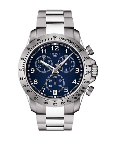 Tissot Chronograph V8 Stainless Steel Watch-BLUE-One Size
