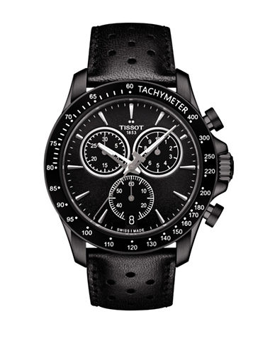 Tissot Chronograph V8 Leather Watch-BLACK-One Size