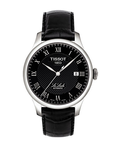 Tissot Le Locle Automatic Leather Strap Watch-BLACK-One Size