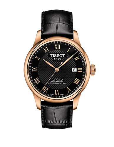 Tissot Le Locle Automatic Calfskin Leather Strap Watch-BLACK-One Size
