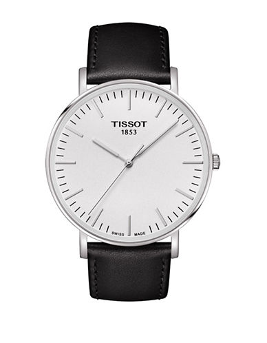 Tissot Unisex Quartz Everytime Leather Watch-BLACK-One Size