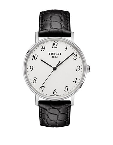Tissot Unisex Quartz Everytime Embossed Leather Watch-BLACK-One Size