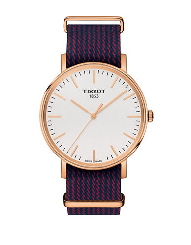 Tissot Unisex Quartz Everytime Synthetic Stripe Watch-BLUE-One Size