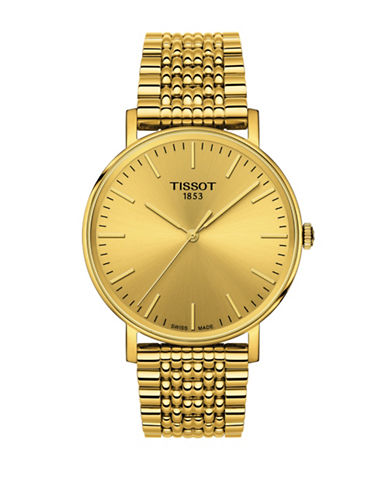 Tissot Analog Everytime T Yellow Stainless Steel Bracelet Watch-GOLD-One Size