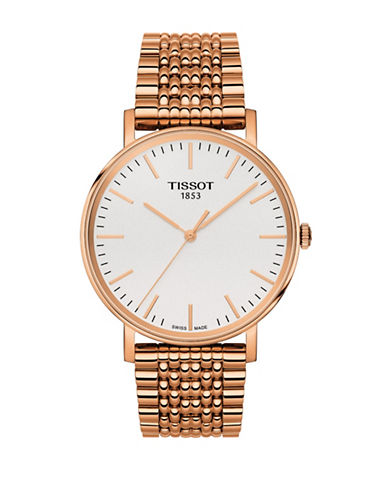 Tissot Unisex Quartz Everytime Goldtone Stainless Steel Watch-PINK-One Size