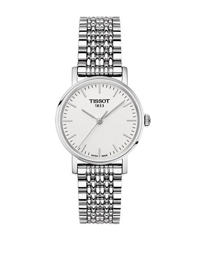 Tissot Analog Anytime Stainless Steel Bracelet Watch-SILVER-One Size