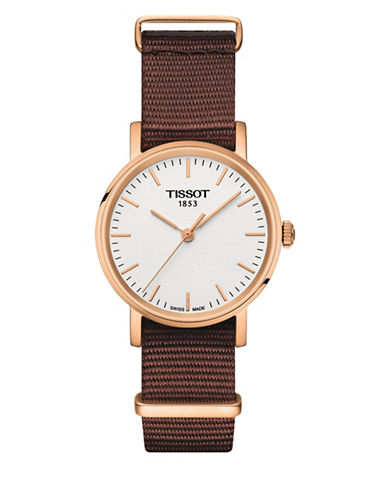 Tissot Quartz Everytime Synthetic Watch-BROWN-One Size