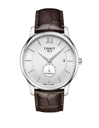 Tissot Analog Tradition Stainless Steel Leather Strap Watch-SILVER-One Size