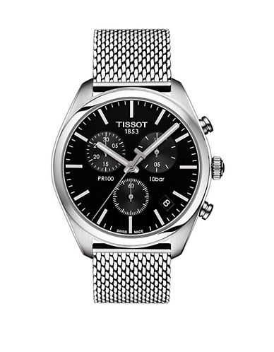 Tissot Stainless Steel Chronograph PR 100 Black Dial Watch-BLACK-One Size