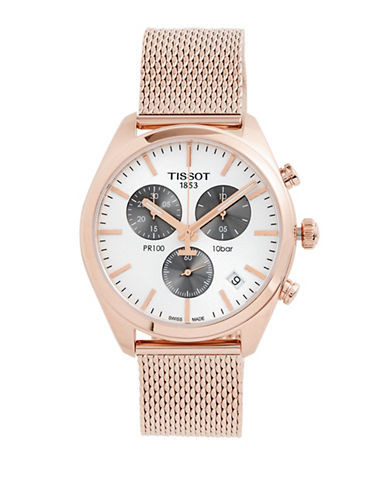 Tissot Chronograph Rose Goldtone Stainless Steel Mesh Bracelet Watch-ROSE GOLD-One Size