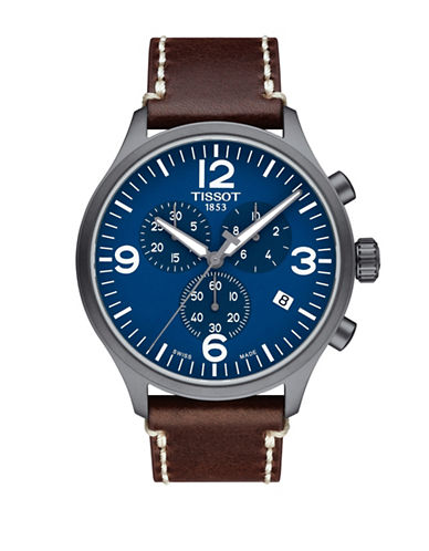 Tissot Chronograph T Sport Stainless Steel Leather Strap Watch-BLUE-One Size