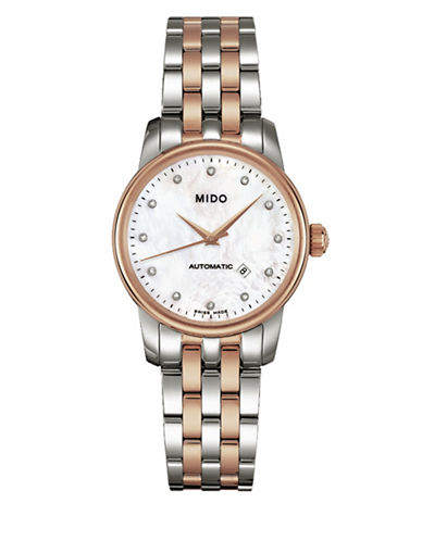 Mido Baroncelli Automatic Stainless Steel and Rose Gold PVD Watch with 0.03 TCW Diamonds-ROSE GOLD/SILVER-One Size