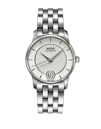Mido Baroncelli Automatic Stainless Steel Watch with 0.03 TCW Diamonds-SILVER-One Size