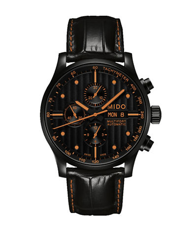 Mido Chronograph Multifort Leather Watch-BLACK-One Size