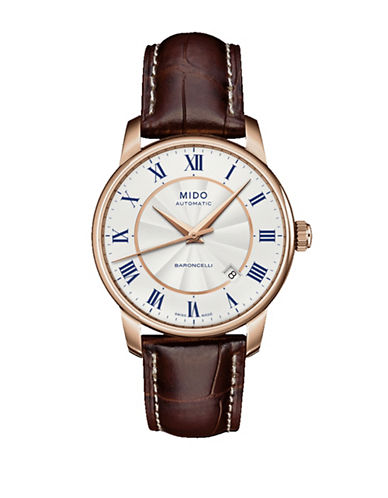 Mido Baroncelli Automatic Brown Leather Watch-BROWN-One Size