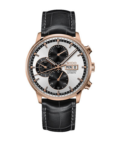 Mido Commander Automatic Chronograph Black Leather Watch-BLACK-One Size
