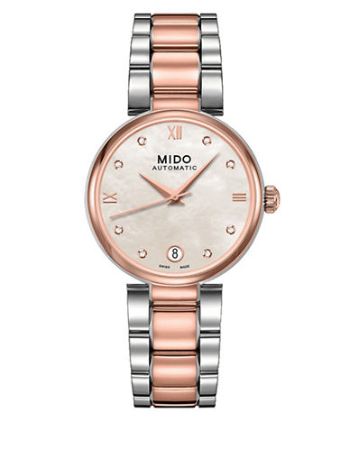 Mido 18k Rose Gold PVD 0.4 Total Carat Weight Baroncelli Watch-ROSE GOLD/SILVER-One Size