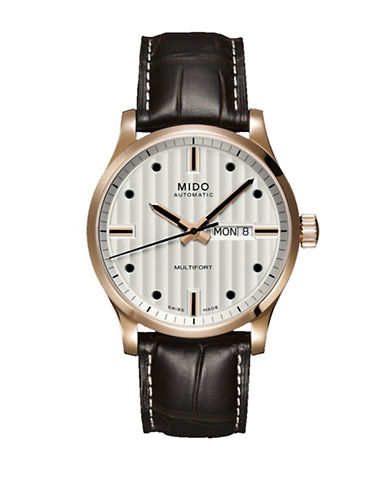 Mido Multifort Automatic Brown Leather Watch-DARK BROWN-One Size