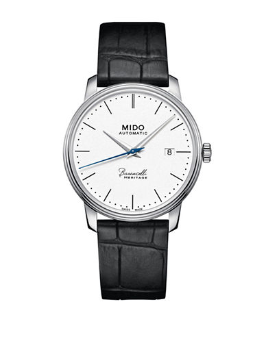 Mido Baroncelli Automatic Grain Finished Leather Watch-WHITE-One Size