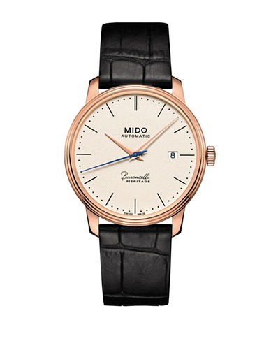 Mido Baroncelli Automatic Rose Goldtone Leather Watch-WHITE-One Size