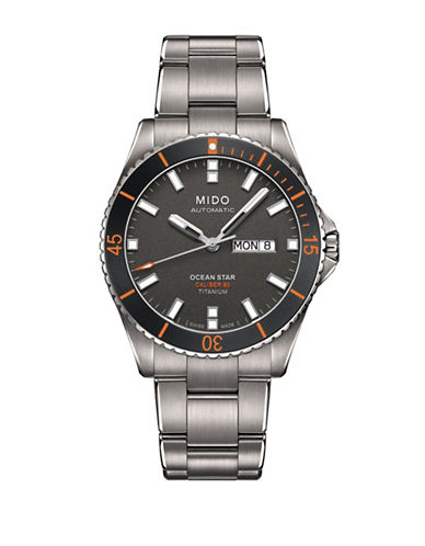 Mido Automatic Ocean Star Brushed Titanium Bracelet Watch-GREY-One Size
